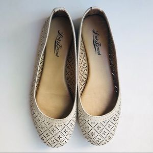 Lucky Brand Cream Pearl Perforated Ballet Flats